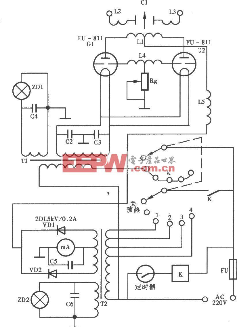 USW-B型超短波电疗机电路