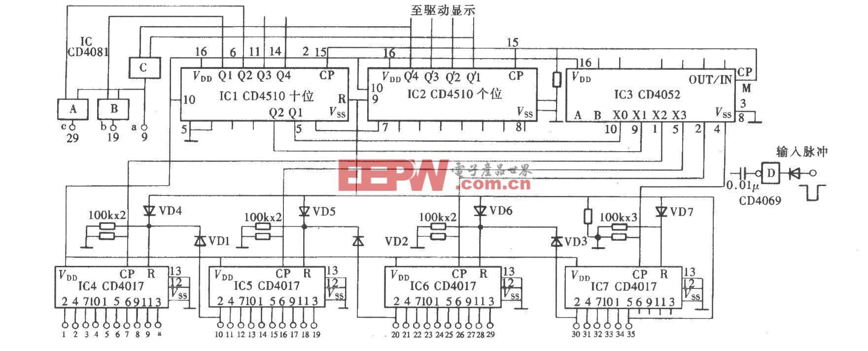用CD4017组成任意进制计数输出电路之二