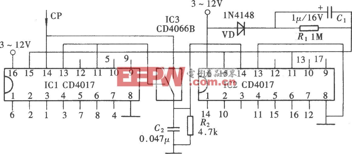 用CD4017组成l~17进制计数器之一
