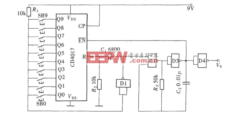 1~9个脉冲选取电路(CD4017)