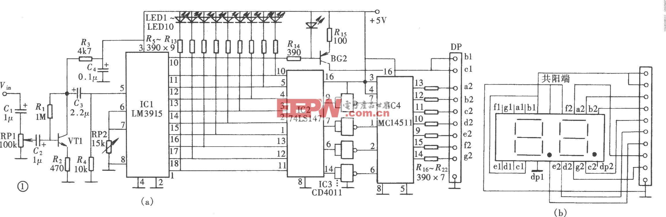 音响电平LED与数码双显示电路