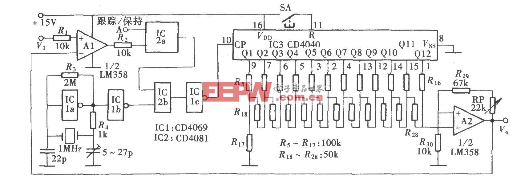 计数式峰值保持电路(CD4069、CD4081)