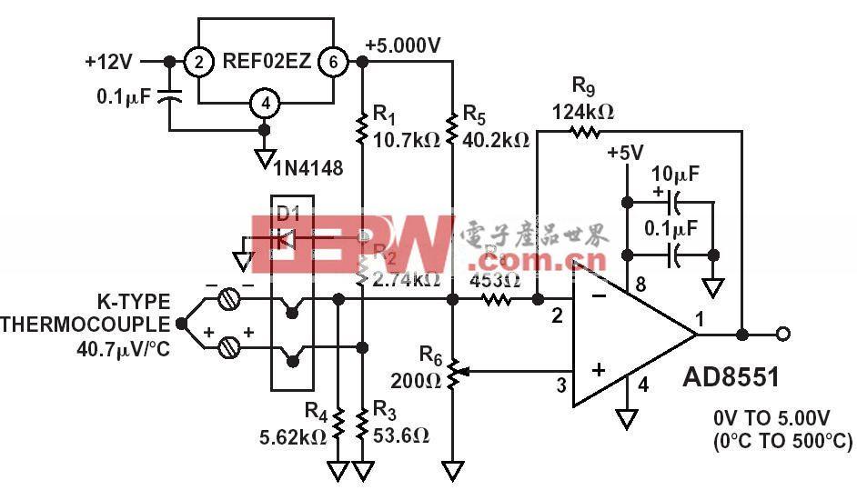 0-500度K型热电隅测温电路