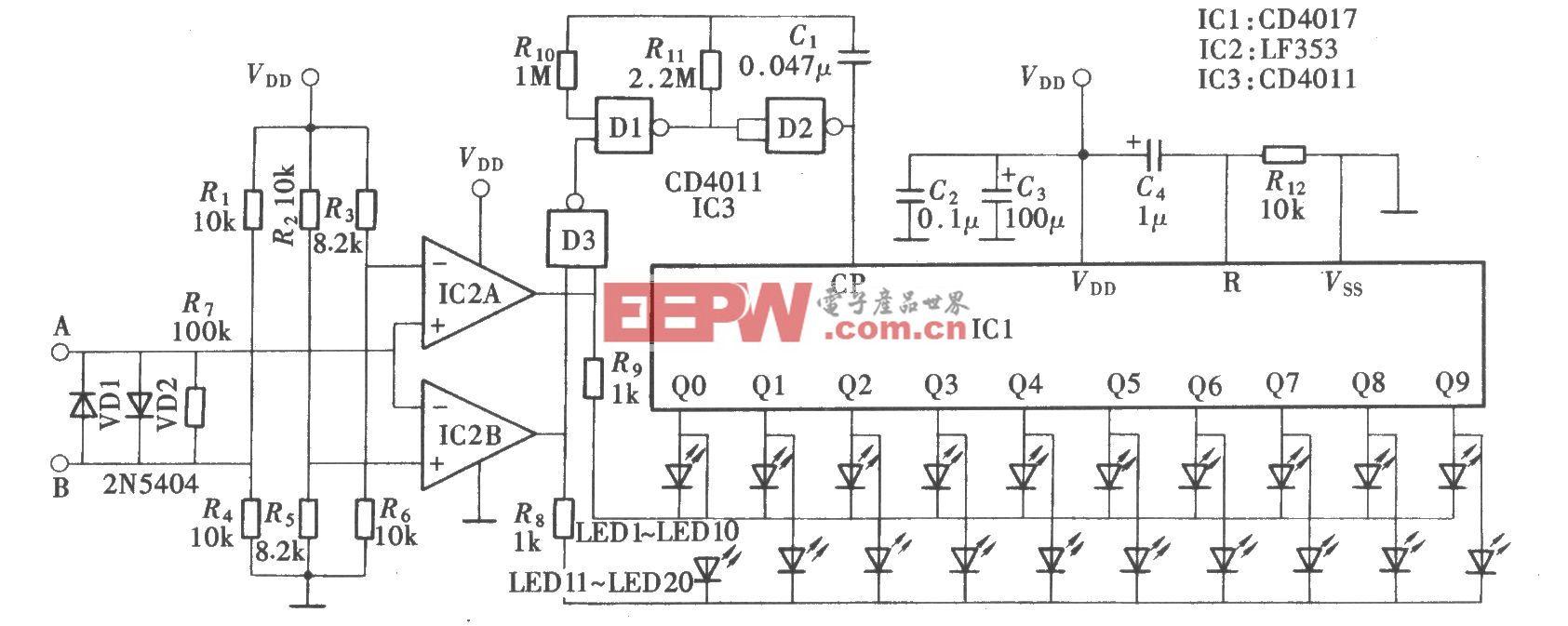 电流方向演示器(CD4017、CD4011、LF353)