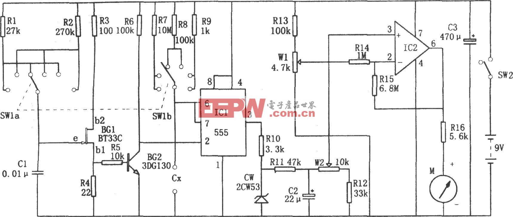 555构成的直流式电容测试仪