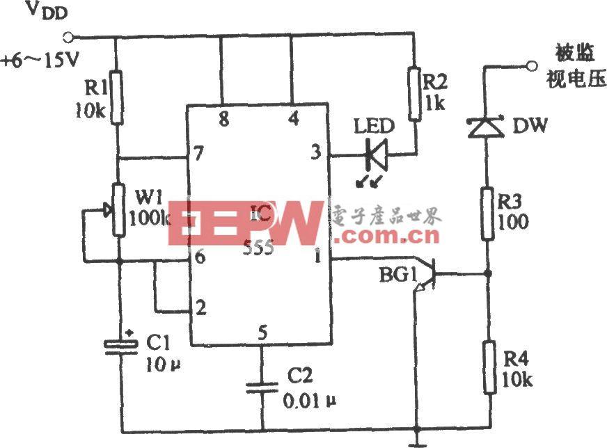 555构成的过压指示电路