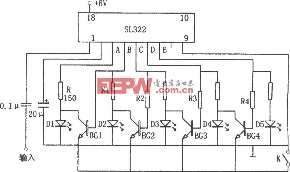 SL322构成的可伸缩、光点显示的电平指示器