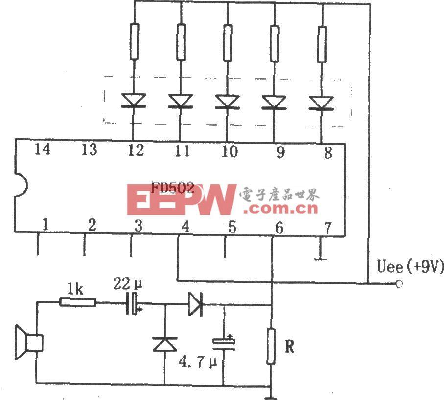 用五位LED显示器做音响功率指示电路(FD502)