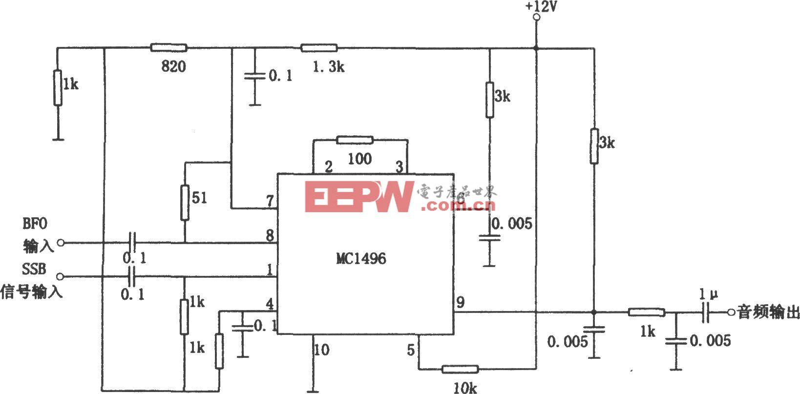 MC1496构成的乘法检波器