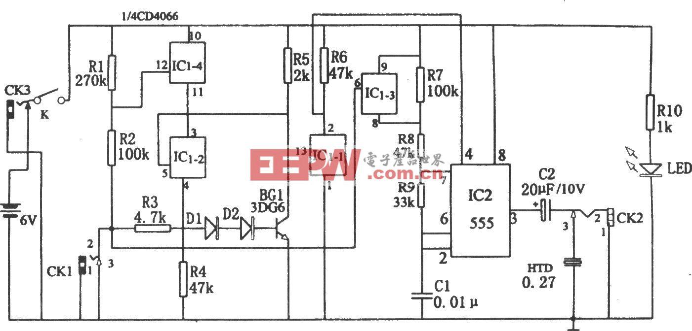 五用途三态声频逻辑笔(CD4066、555)