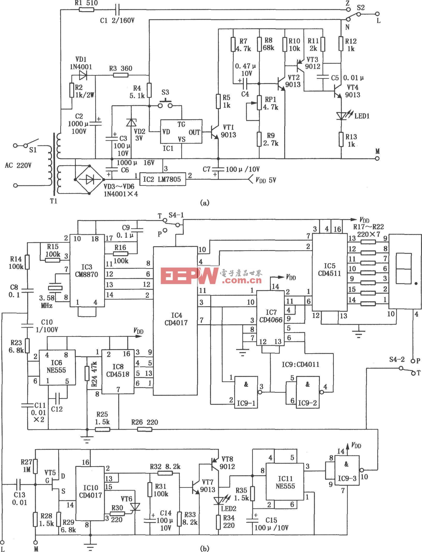 实用电话检测仪(555、CD4017、CD4518)