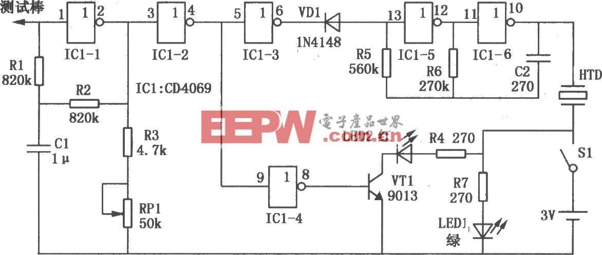 感应式测电笔(CD4069)