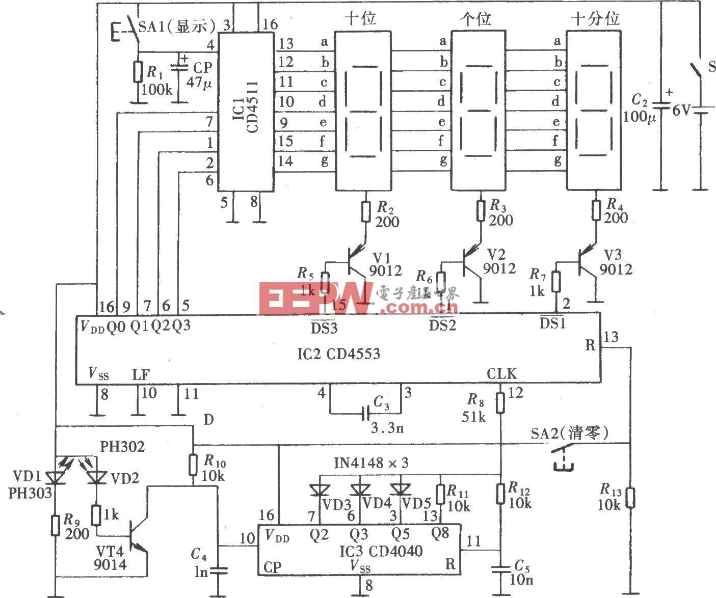 电度表远传数显电路(CD4553、CD4040)