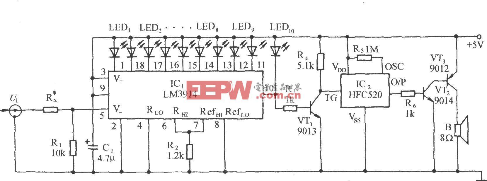 可变量程1.2~1000V线模式声光电压计电路
