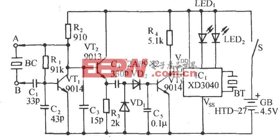 判断晶振好坏的声光检测仪电路