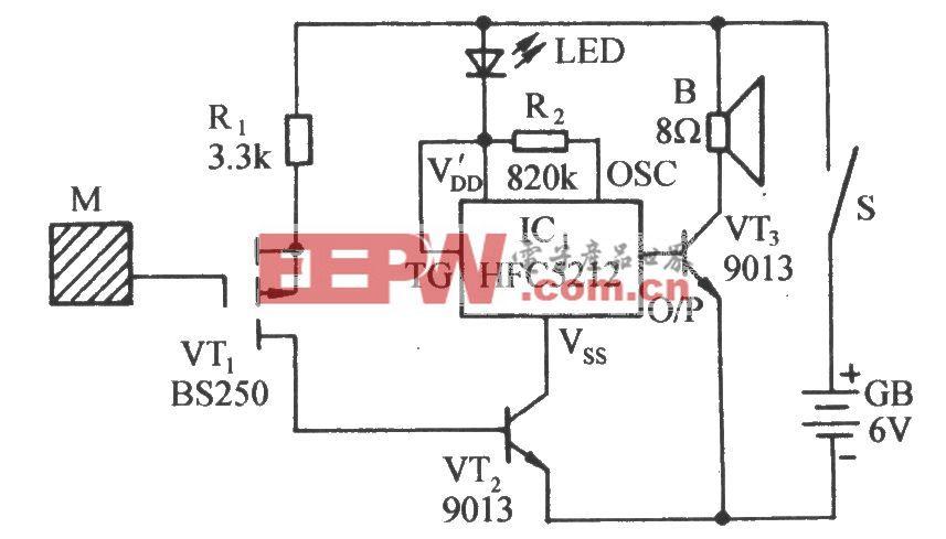 静电探测声光报讯器电路