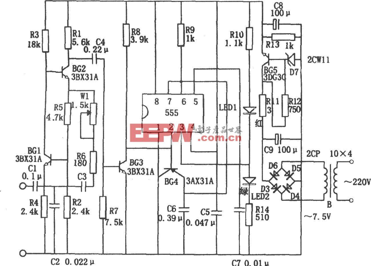 555构成的行输出变压器短路检测器
