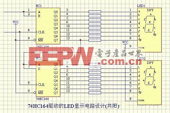 LED-74HC164驱动的LED显示电路设计(共阳)