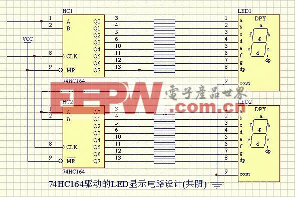 LED-74HC164驱动的LED显示电路设计(共阴)