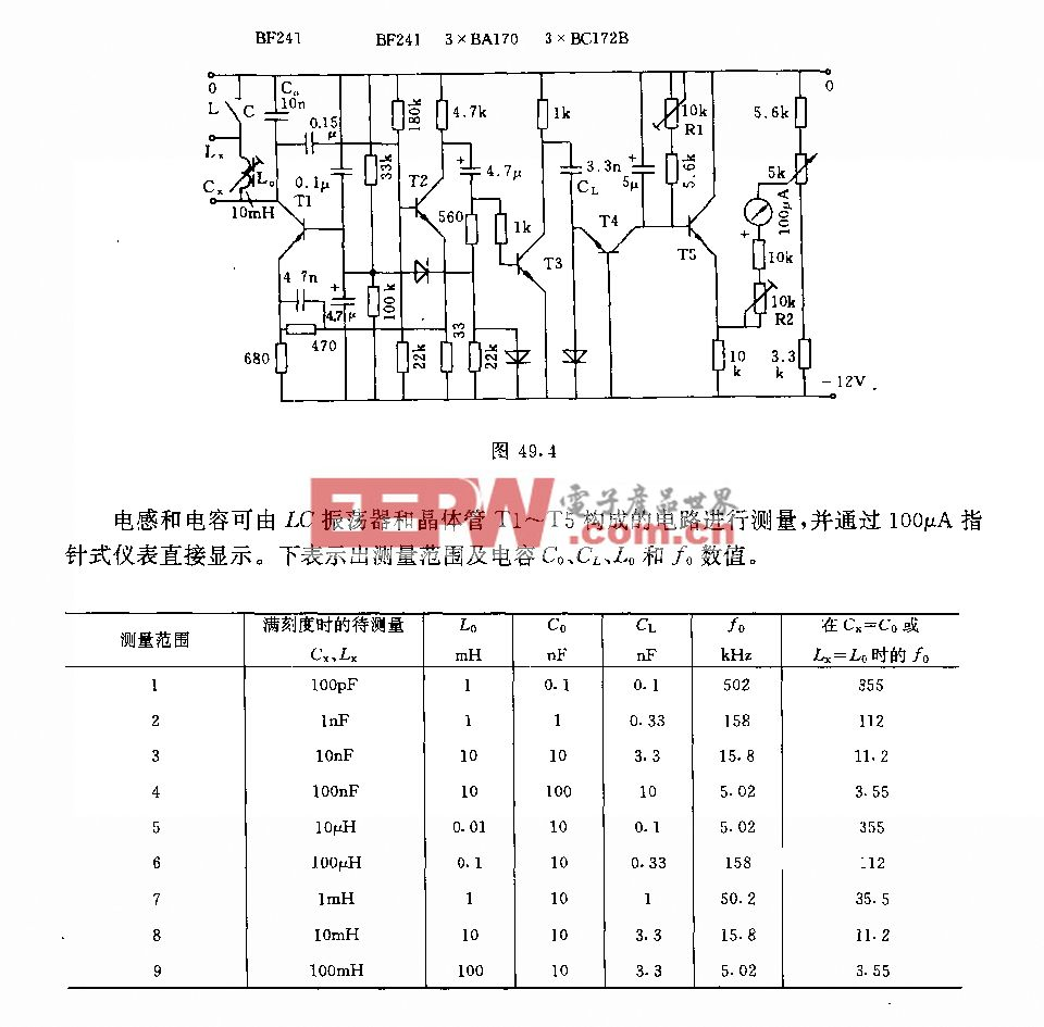 直讀式LC測量儀電路