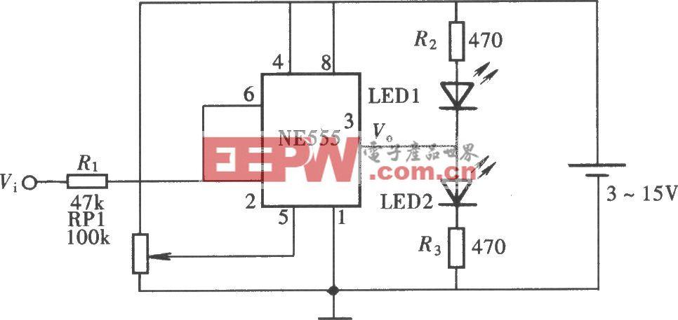 用NE555电路组成的发光显示型逻辑笔