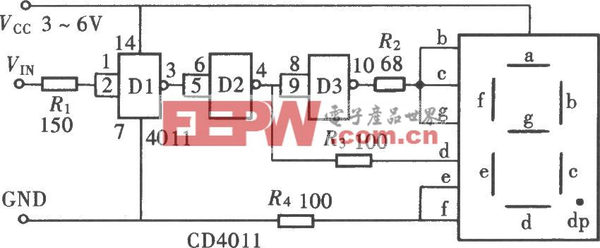 用门电路组成的文字显示型逻辑笔之二(CD4011)