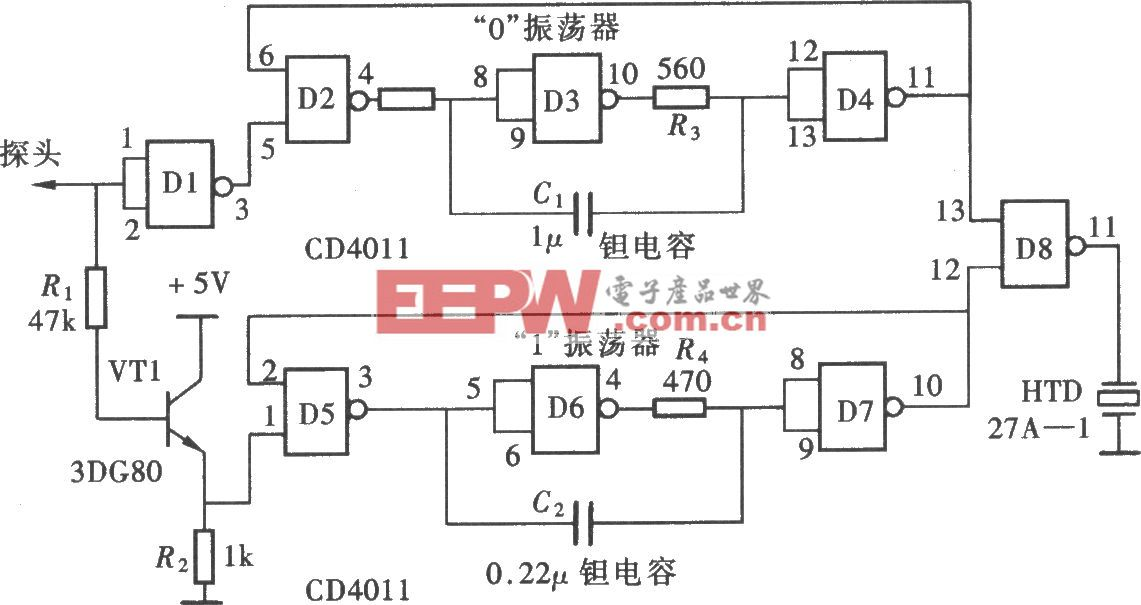 用门电路组成的发声型逻辑笔(CD4011)