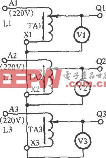 用三只调压器星形接线获得0~433V电压