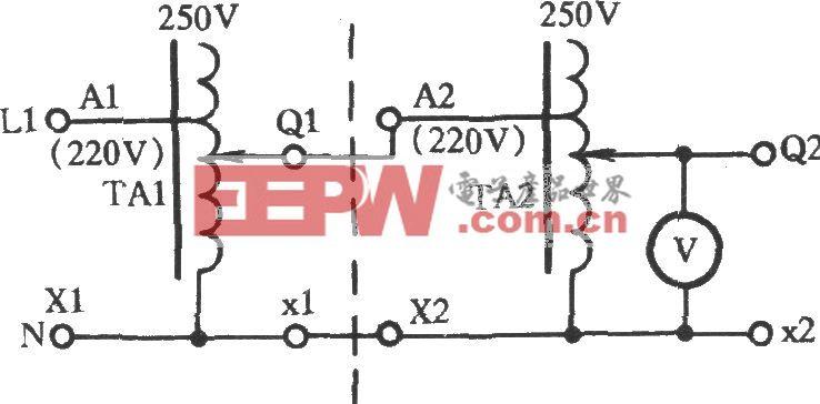 用两只调压器串联获得0~284V电压