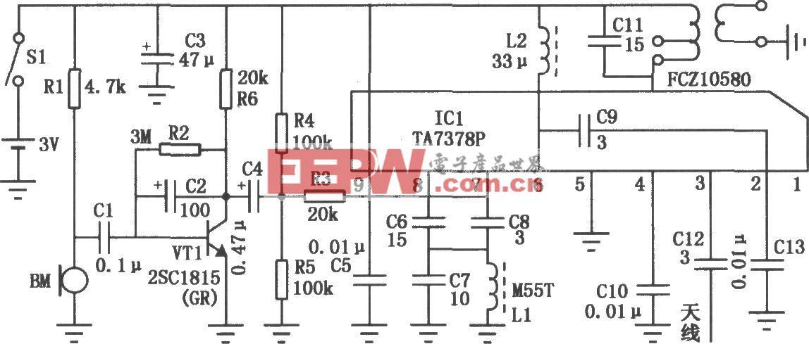 TA7378P组成的调频无线话筒