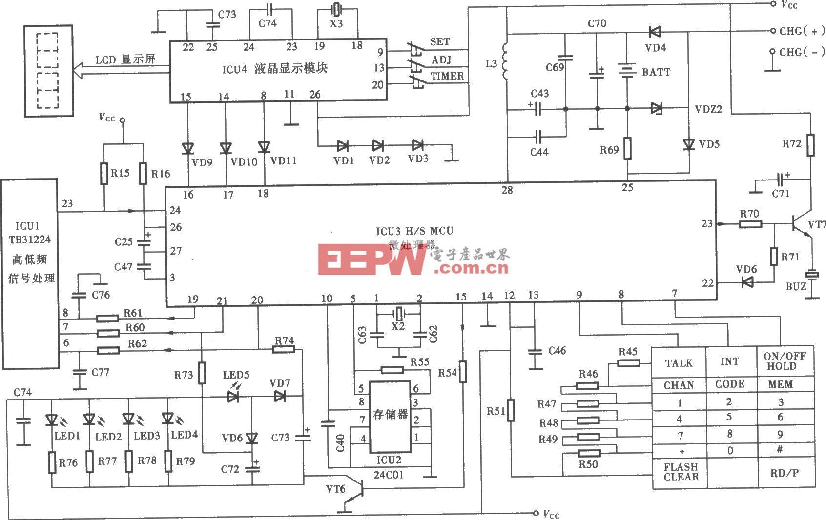 天时达HW838(4)P/TSD-LCD型无绳电话手机微电脑控制电路