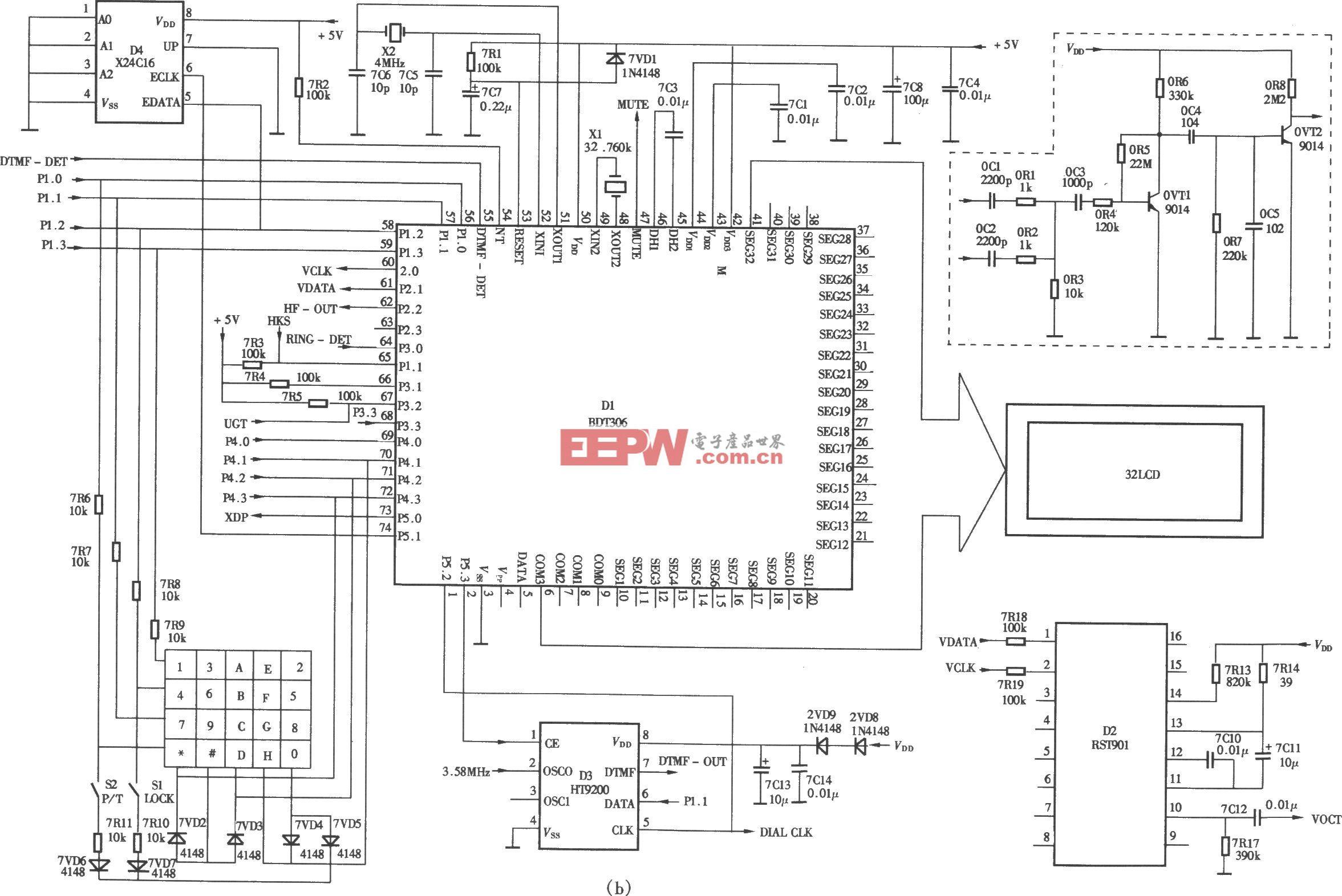 美毅HCI)2818(3)P/TSD-LCD型来电显示电话机电路(b)