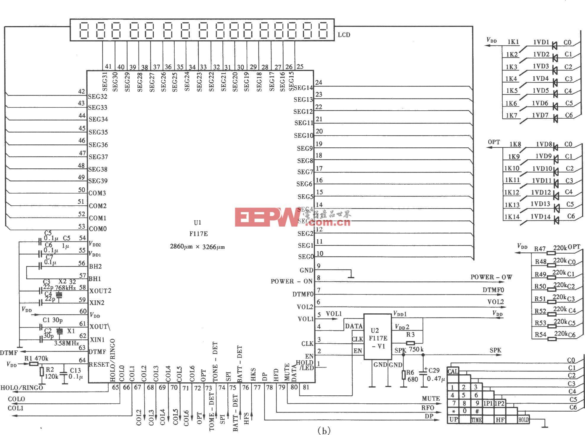 渴望HCD(15E)p/TSDL型來電顯示、語言報號多功能電話機電路(b)