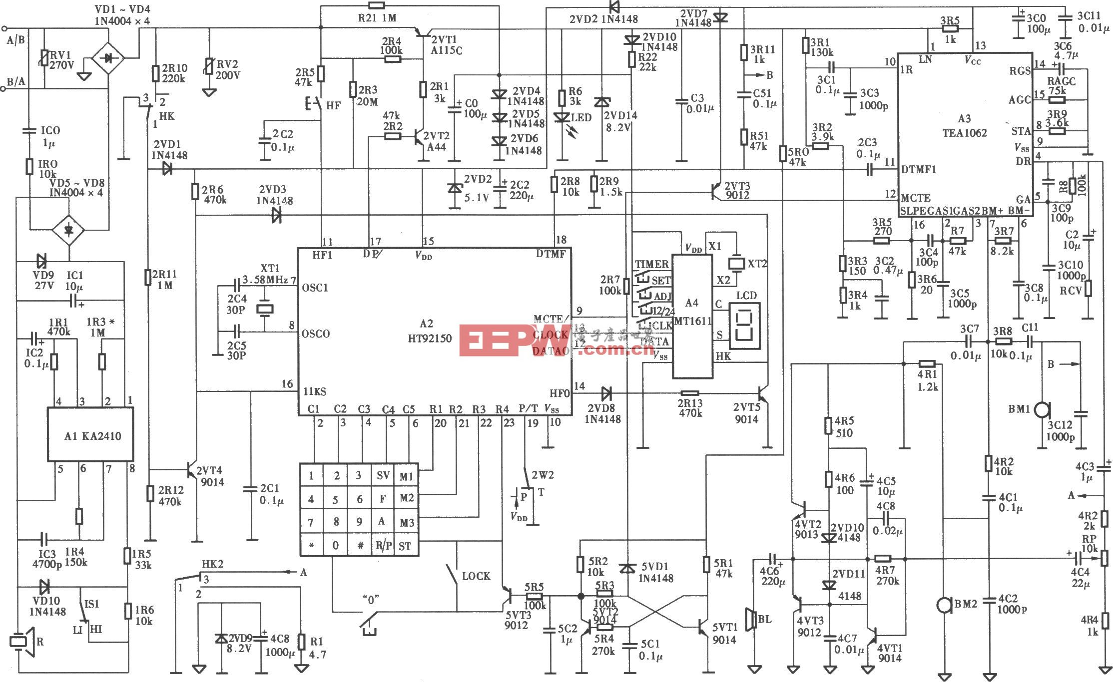 HA737(IV)P/TSD-LCD型电话机电路