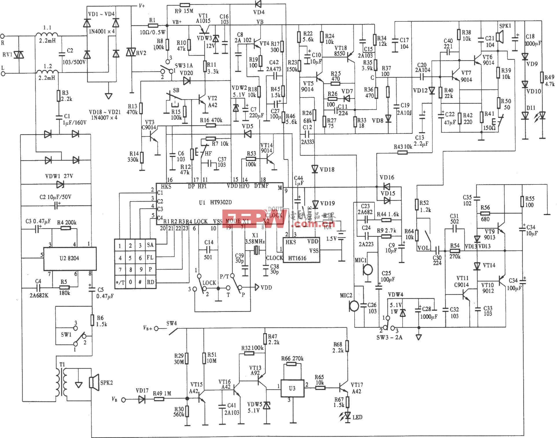 HA399(9)P/TDL-LCD型电话机电路