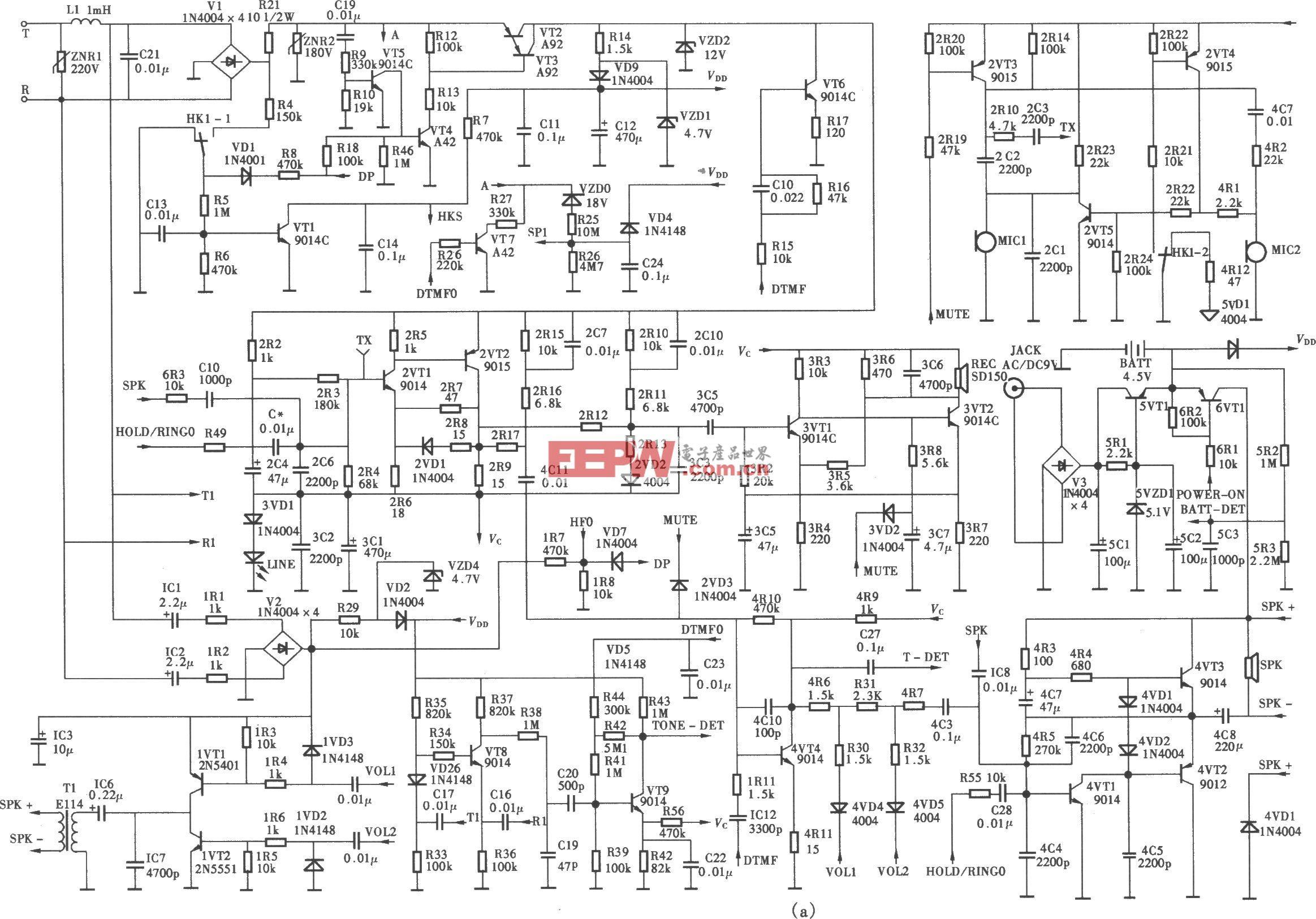 渴望HCD(15E)p/TSDL型來電顯示、語言報號多功能電話機電路(a)