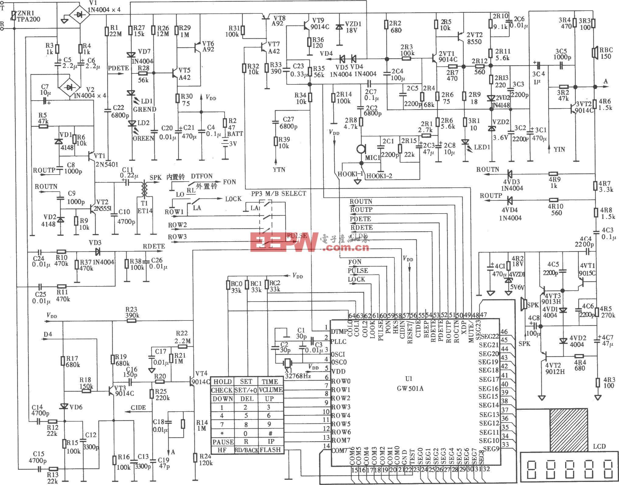 渴望HCDl39(38)P/TSDL型多功能全制式來電顯示電話機電路