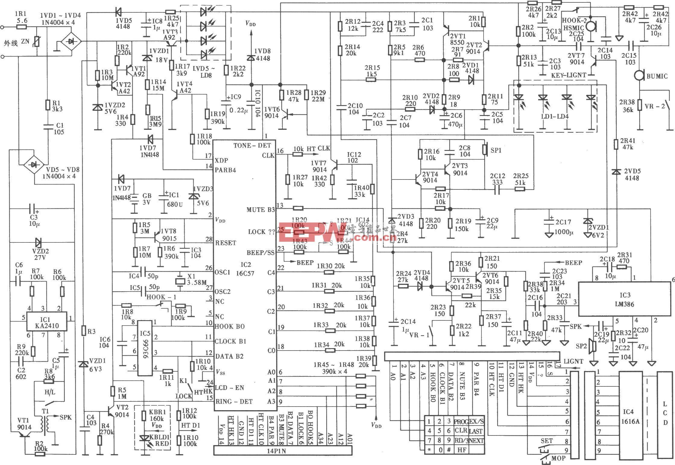 中天信HA738(19B)P/TSGFM(LCD)型電腦計費電話機電路