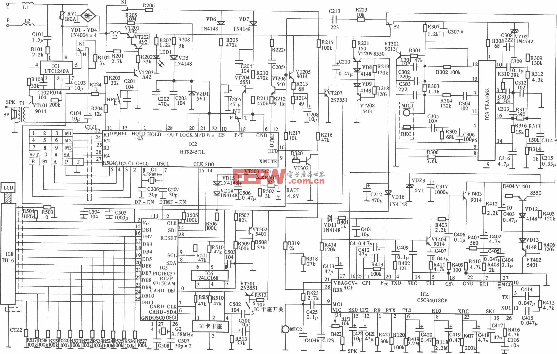 侨兴HA8188(20)P/TSD(LCD)型 IC卡管理电话机电路