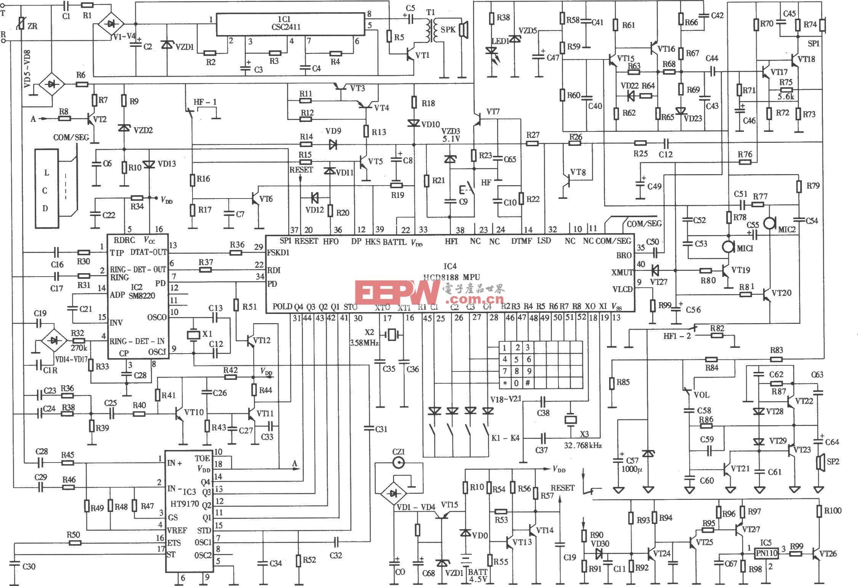 僑興HCDSl88(1)P/TSDL型來電顯示電話機電路