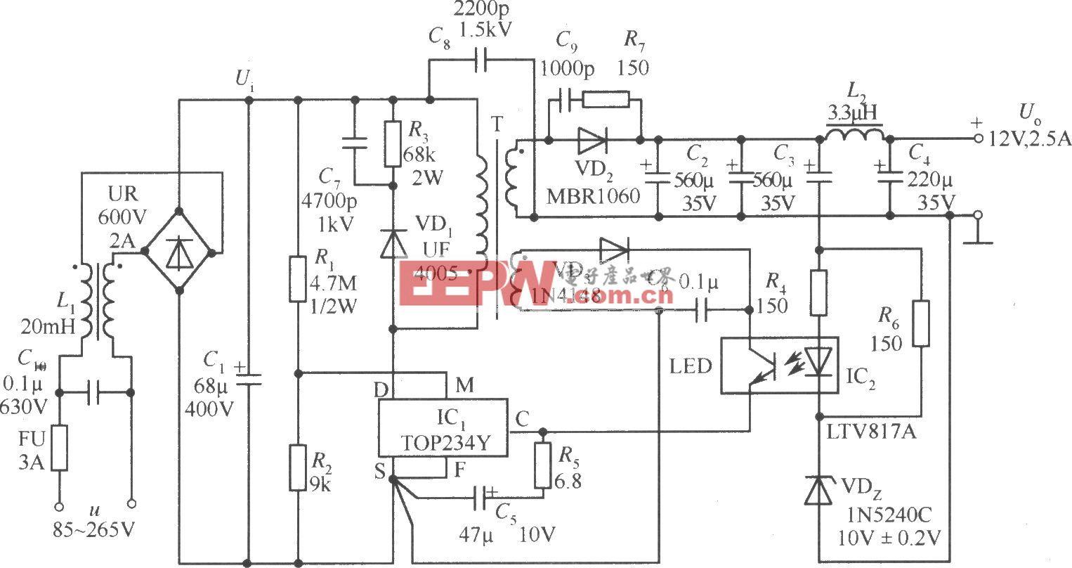 TOP234Y构成的12V、2.5A开关电源电路