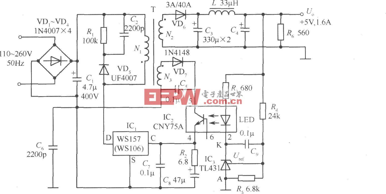 WSl57构成的 5V、1.6A精密开关稳压电源电路