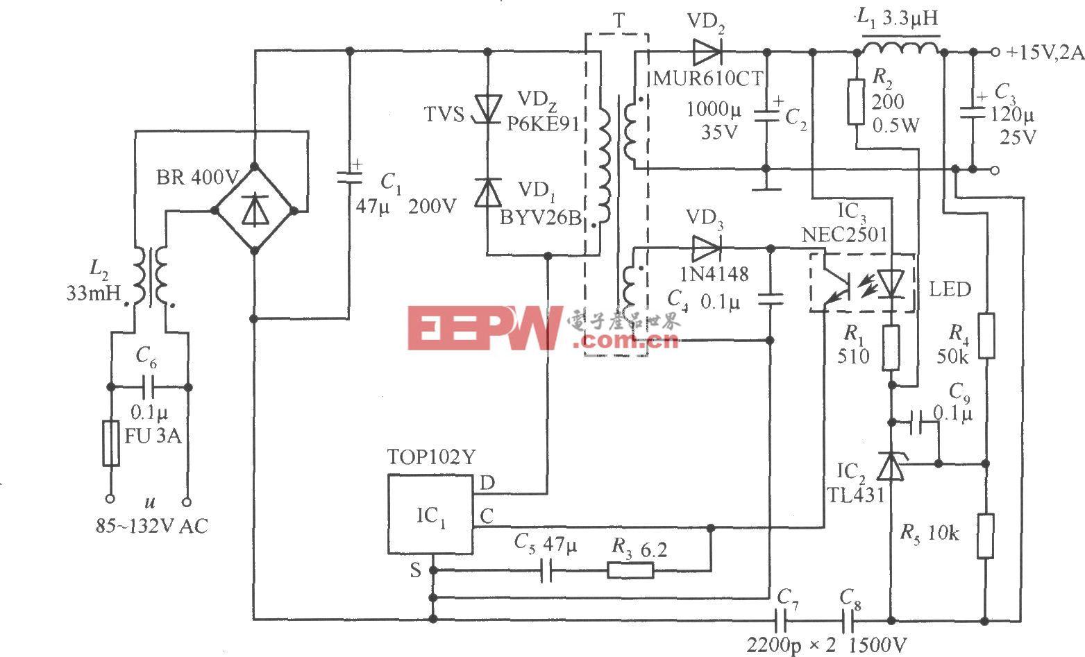 TOP102Y构成的 15V、2A开关直流稳压电源电路