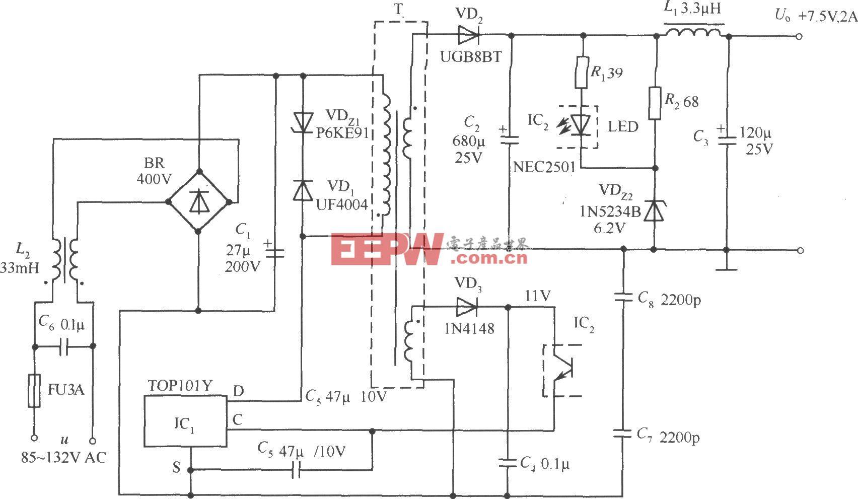 TOP101Y构成的 7.5V、2A输出的开关直流稳压电源电路