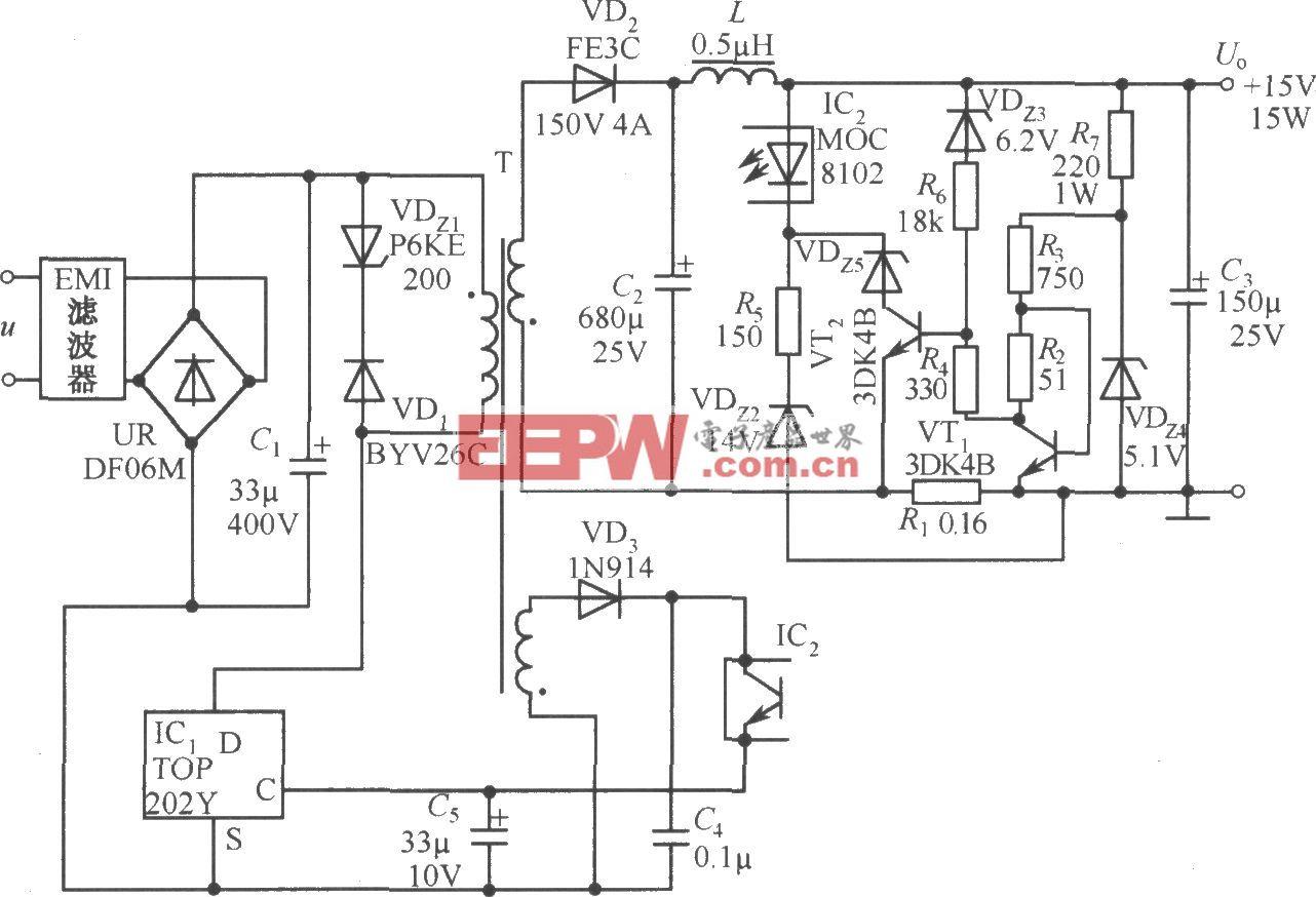 TOP202Y构成的15V、1A恒功率型开关电源电路