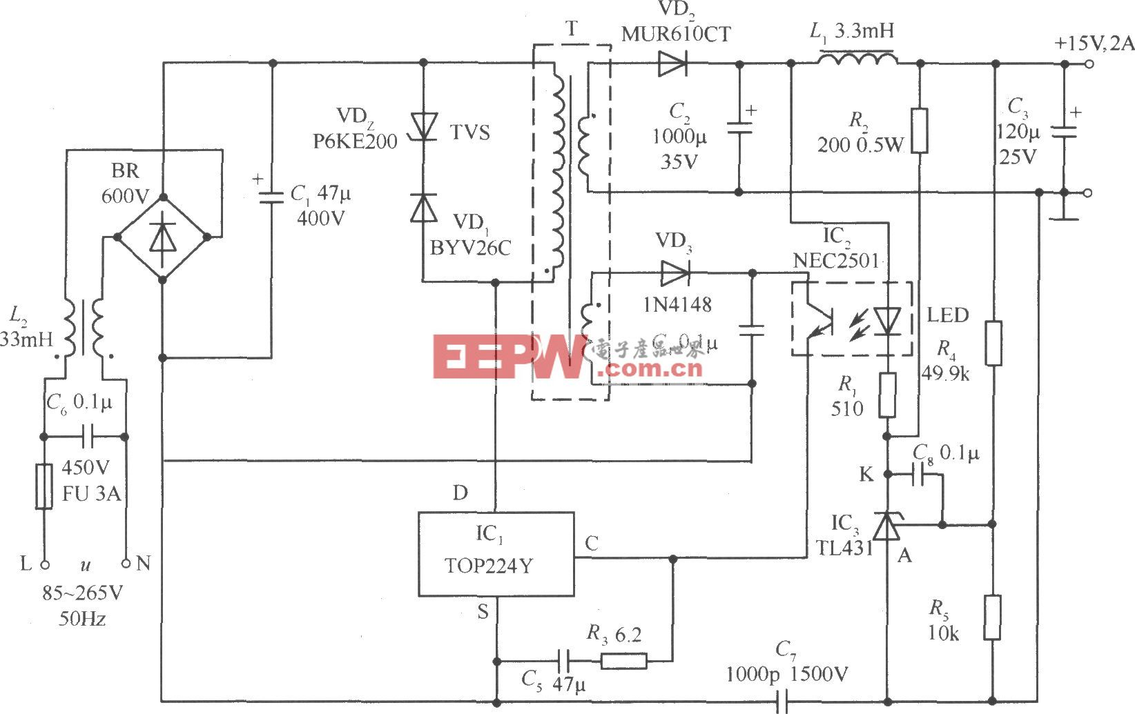 TOP224Y构成的15V、2A输出的直流开关电源电路