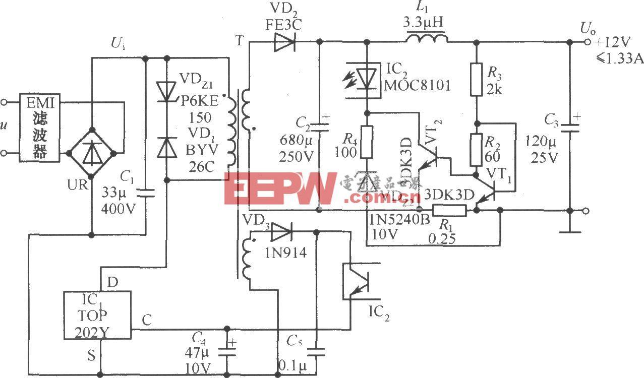 TOP202Y构成的12V、1.3A截流型开关电源电路