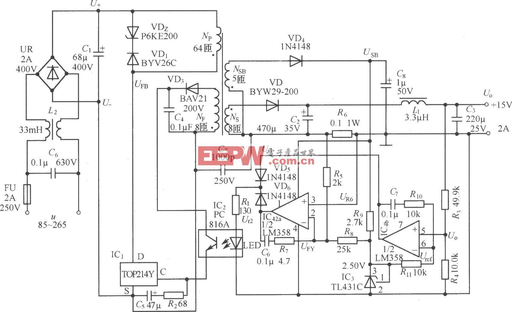 TOP214Y构成的15V、2A恒压饱流型开关电源