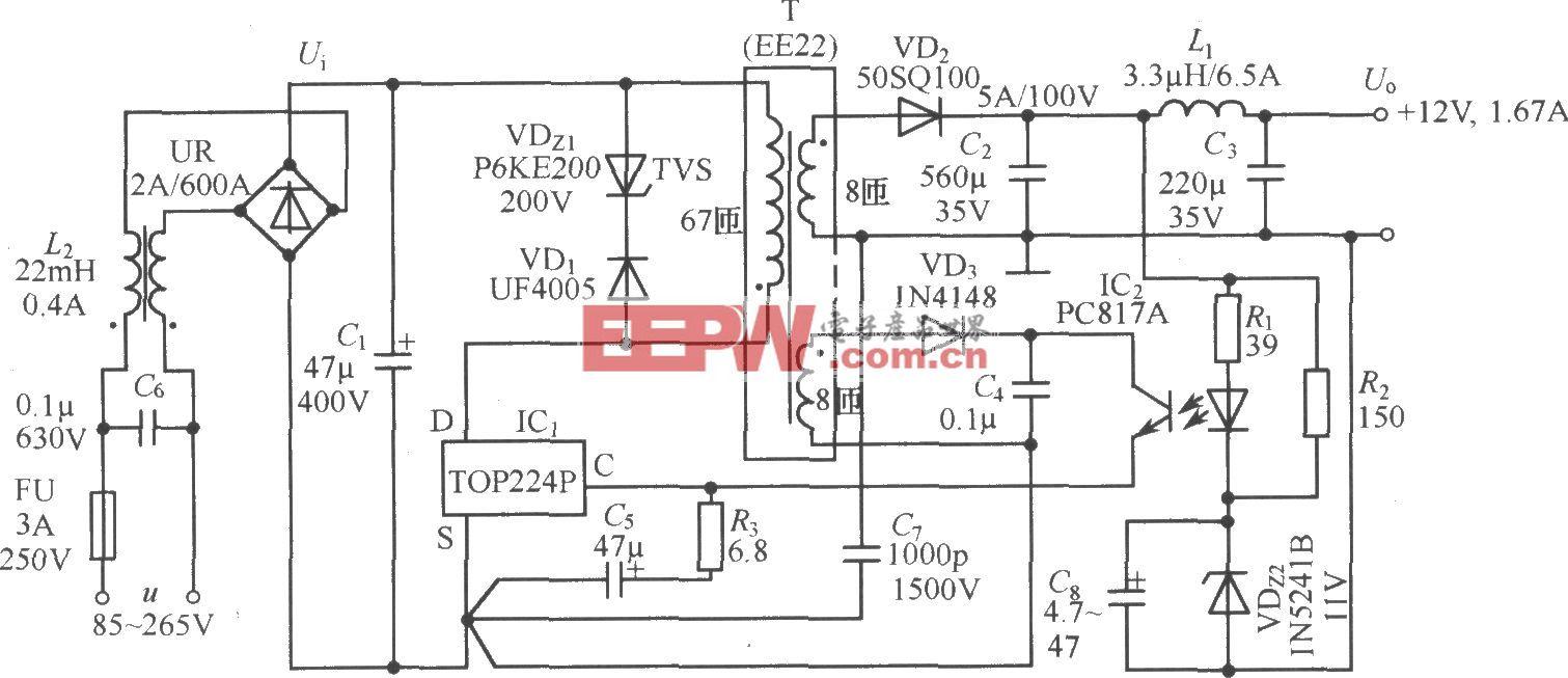 TOP224P构成的 12V、20W开关直流稳压电源电路