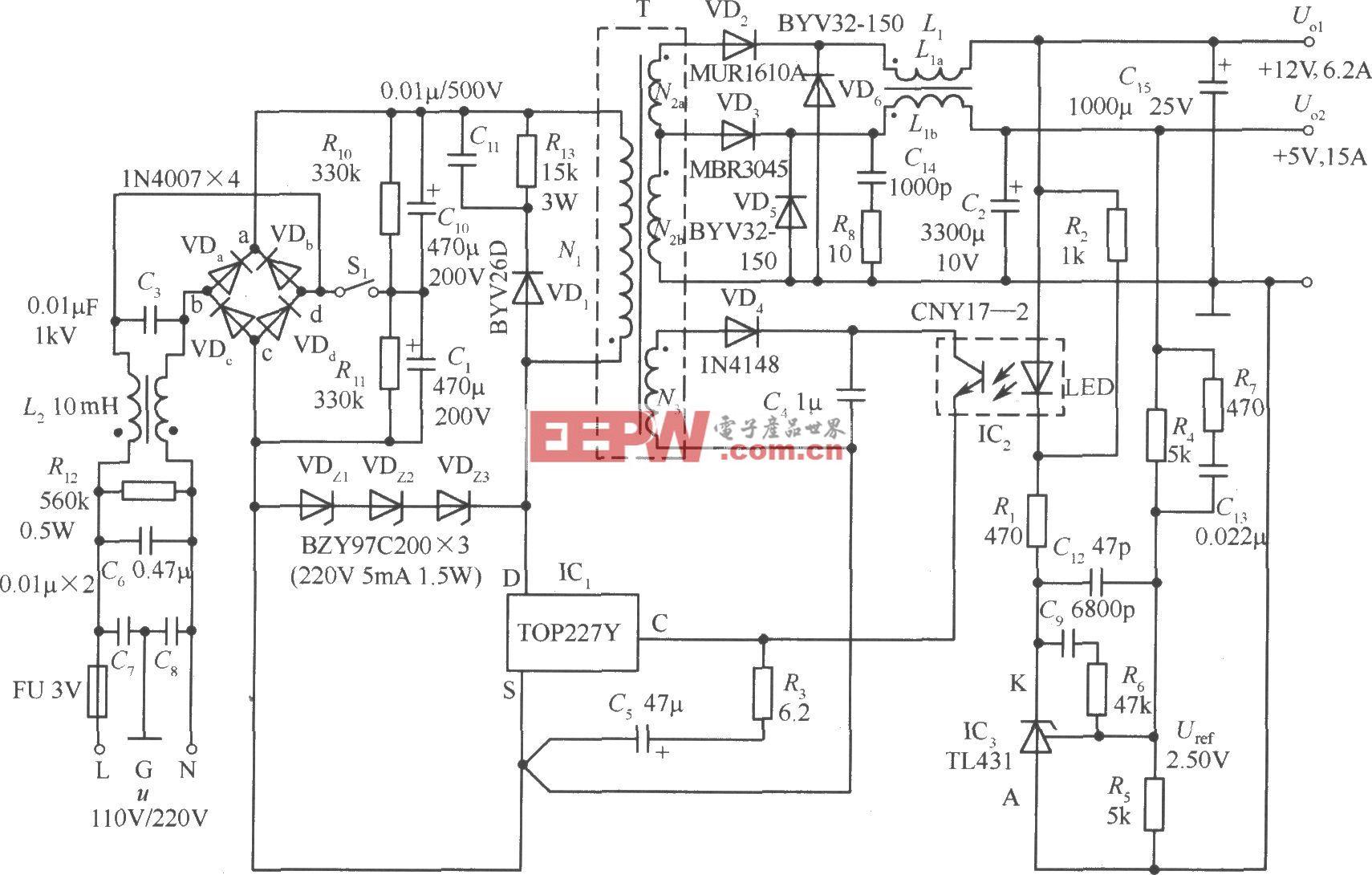 TOP227Y构成的 5V、 12V双路输出l50W反激式开关稳压电源电路